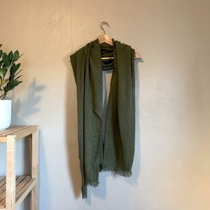 H&M Divided Olive Army Green Scarf with Fringe OS